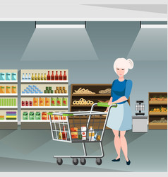 woman on supermarket vector image