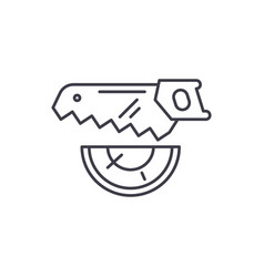 wood saw line icon concept wood saw linear vector image
