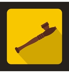 Wooden hashish pipe icon flat style vector image