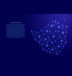 zimbabwe map of polygonal mosaic lines network vector image