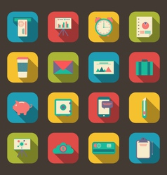 business and office objects flat icons with long vector image vector image
