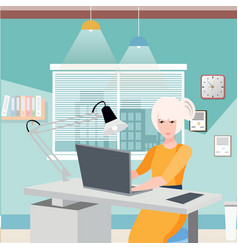 business woman working at her office desk vector image vector image