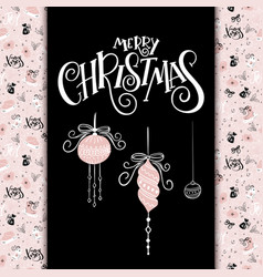 christmas greeting card with hand lettering vector image vector image
