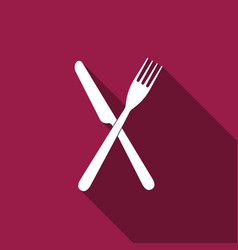 crossed fork and knife icon with long shadow vector image
