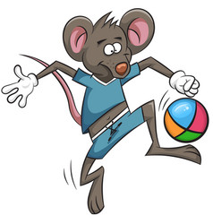 mouse plays football cartoon ball vector image