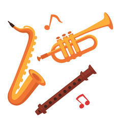 Musical instruments set on white with note signs vector