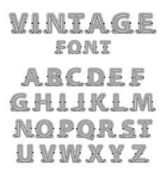 retro mono line decorative font vector image
