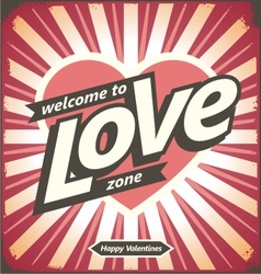 Valentines day vintage tin sign design concept vector image