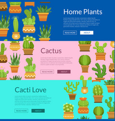 banner set with home plant cacti vector image