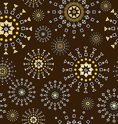 Brown background with geometric shapes flowers vector image vector image