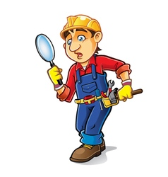 Cartoon Builder Searching vector image