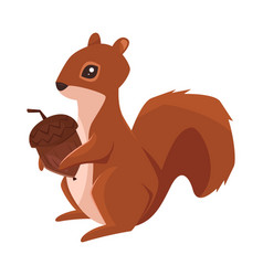 cartoon style of squirrel with acorn vector image