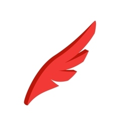 Red simple wing icon isometric 3d style vector image vector image