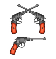Revolvers on white background vector image