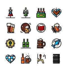 Thin line Oktoberfest icons vector image