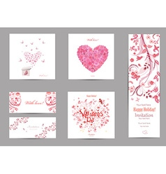 collection romantic invitation cards with love vector image