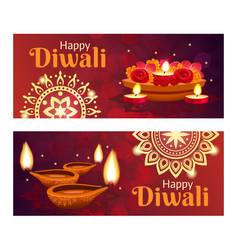 diwali banners set vector image