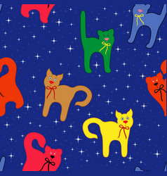 funny cats over starry sky vector image
