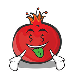 money mouth pomegranate cartoon character style vector image vector image