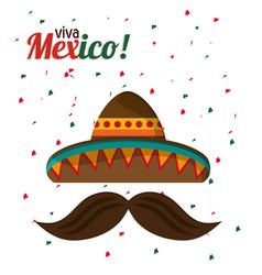 viva mexico tradition hat mustache with confetti vector image vector image