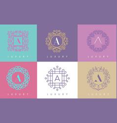 a letter pastel floral monogram lines logo design vector image