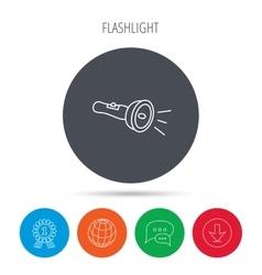 Flashlight icon Light beam sign vector image