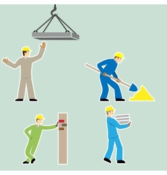 Flat design style cartoon worker icons set vector image vector image