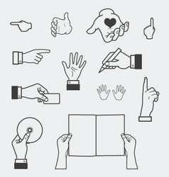 Hand and holding objects vector image vector image