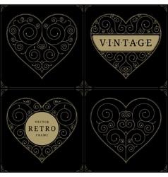 Heart vintage luxury logo template set vector image vector image