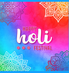 holi holiday design with colorful watercolor vector image