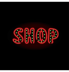 Light neon shop label vector image