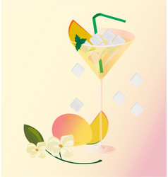 peach fruits fresh cocktail glass summer drink vector image