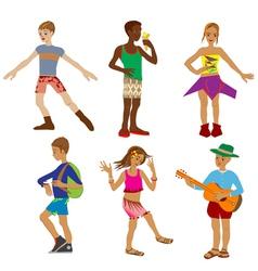 six children vector image