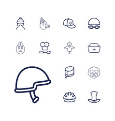 13 hat icons vector