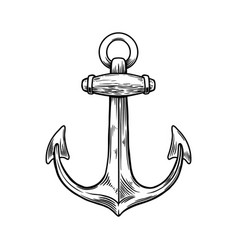 anchor in engraving style design element vector image