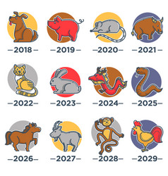 Animals that symbolize years from chinese vector