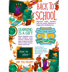 Back to school stationery study poster vector