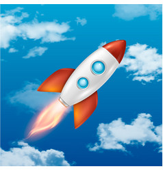 background with retro space rocket ship vector image