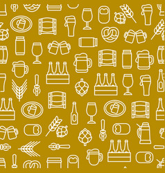 beer alcohol drink thin line seamless pattern vector image