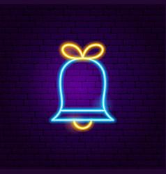bell neon label vector image