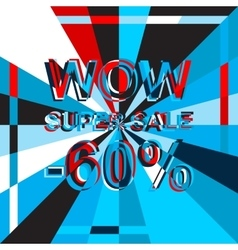 Big ice sale poster with WOW SUPER SALE MINUS 60 vector