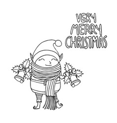 black and white cute funny cartoon character vector image
