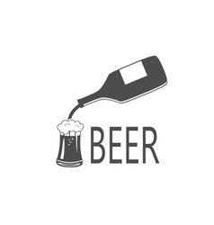 black silhouette beer bottle and glass vector image