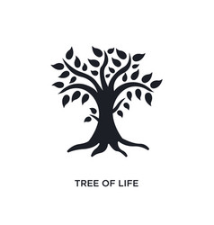 Black tree life isolated icon simple element vector