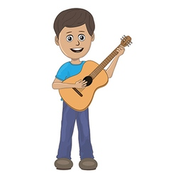 Boy playing guitar vector