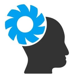 Brain Wheel Flat Icon vector