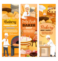 bread and desserts bakery shop food baker in hat vector image