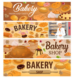 bread bakery products and desserts banners vector image