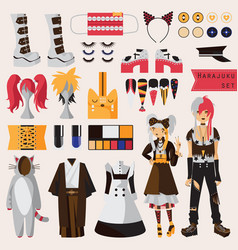 Bright set with subculture of japanese harajuku vector