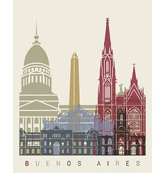 Buenos aires skyline poster vector